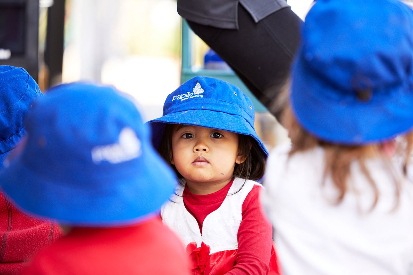 Young child wearing papilio early learning hat